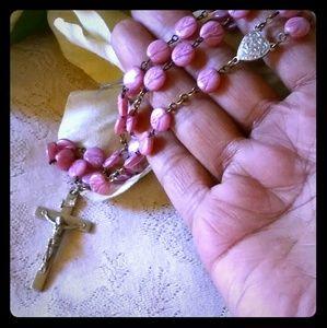 Vintage Carved Pink Bead Rosary